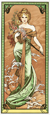 Art Nouveau lady in green gown Alphonse Mucha European art poster print SKU3945