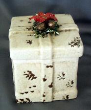 Cookie jar gift box christmas Holiday decor New pine cones  Poinsettias ceramic