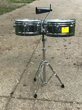 "LP Aspire Chrome Timbales Percussion Drums - 13"" & 14""  with cowbell and stand"
