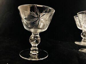9 Vintage Star Deep Etched Art Deco Crystal Martini Cocktail Glasses MCM