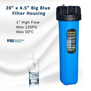 "20'' x 4.5'' Big Blue Whole House Tank Water Filter Housing 1"" Port"