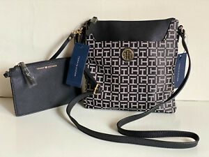 NEW! TOMMY HILFIGER BLACK WHITE CROSSBODY SLING BAG W/ WALLET POUCH $75 SALE