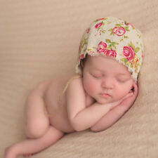 Vintage Baby Boy Girl Floral Linen Hat Cap Newborn Beanie Bonnet Hats Photo Prop