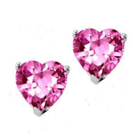 2.00Ct Heart Sapphire 14K Gold Over Silver Solitaire Stud Earrings