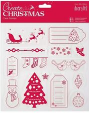 Papermania clear rubber stamp set Christmas sleigh snowman tag tree snow holly