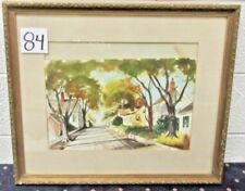 """Vintage 24""""x 20"""" Framed 1950's Watercolor Neighborhood Houses Signed By Artist"""