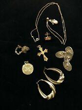 - Earrings Crucifix Necklace Medal (14k) Scrap Gold Bundle - Minimum Weight 7g
