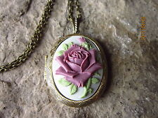 PLUM, PURPLE, MAUVE ROSE ON GRAY CAMEO BRONZE LOCKET - QUALITY - UNIQUE