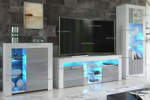 Living Room Set Matt Body & Gloss Doors TV Unit Display Cabinet Cupboard LED