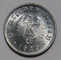 1940 F GERMANY 1 PFENNIG UNC WWII THIRD REICH WORLD COIN 🌈⭐