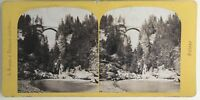 Suisse Pont Da Solis Strada Schun Foto A. Braun Stereo Vintage Albumina