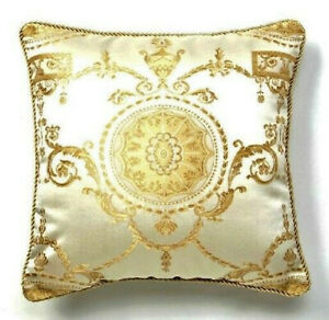 Baroque Pillow Cover Champagne Gold Beige Decorative Regal Home Decor Cushion 18