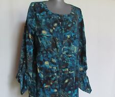 New NWOT anne klein turquoise teal green blue button tunic shirt large