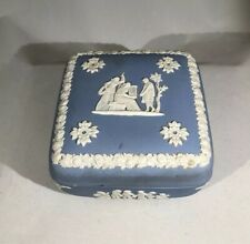 Square Box Wedgwood Classic Blue Jasperware Box Vintage