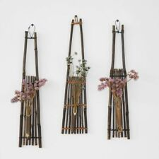Bamboo Hanging Vase Flowers Pot Stand Home Decoration Outdoor Wall Ornaments