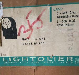 Vintage MCM LIGHTOLIER Outdoor Wall Fixture  Sconce Light 2 Bulb Lamp NOS BLACK