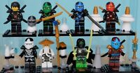 Ninjago Mini Figures Building Zane Lloyd Kai Cole Pythor Master Wu Samurai x 8