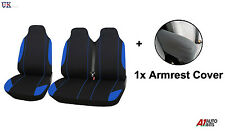 2+1 BLUE SINGLE+DOUBLE SOFT FABRIC SEAT & ARMREST COVERS FOR VW TRANSPORTER T5