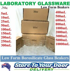 5 sizes BOROSILICATE Glass Graduated Laboratory Beakers Low Form 1/5/10 pcs