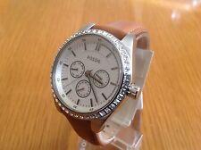 Fossil  Ladies Caressa Silver Tone Dark Tan Leather Band  Watch BQ3015