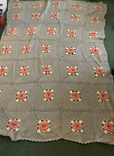 Large Hand Crocheted Afghan Bedspread Tan Peach Yellow 3D Floral BEAUTIFUL