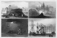ENGLAND Coal Mines Colliery Percy Wallsend - Antique Print Engraving