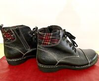 Clarks Ankle Boots Black Plaid Whistle Bea Lace Up Zip AW - size 7 1/2
