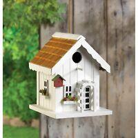 GARDEN DECOR WHITE HAPPY HOME BIRD HOUSE BIRDHOUSE WOOD - JACKSON MOUNTAIN