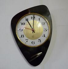Belle Horloge forme libre  JAPPY  Formica Noir  Vintage   Des Années 50's