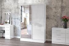 Birlea Lynx High Gloss All White Mirror 2 door Sliding Slider wardrobe