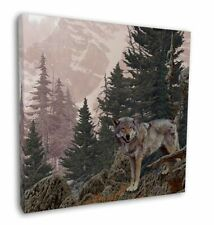 """Mountain Wolf 12""""x12"""" Wall Art Canvas Decor, Picture Print, AW-4-C12"""