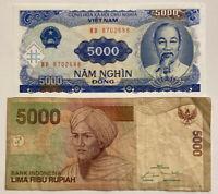 5,000 IRAQI DINAR BANKNOTES 200,000 VIETNAMESE DONG 200K VND 5000 IQD 1//ea