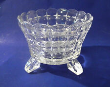 "Vintage Clear Glass Footed 7"" Bowl Vase with Frosted Grape Design on Bottom Base"
