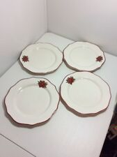Better Homes & Gardens Poinsettia Dinner Plates Lot of 4 Red Trim NEVER USED