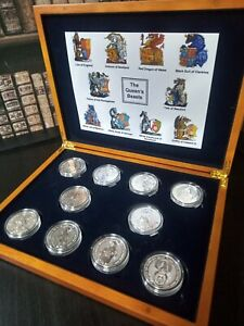 Complete luxury boxed set of 2oz Queen's Beasts Coins