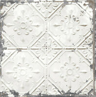 Wallpaper White Gray Bronze Metallic Distressed Faux Tin Ceiling Tiles SMOOTH