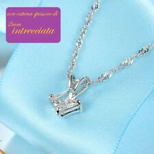 collana donna colore argento acciaio con ciondolo pendente brillante punto luce