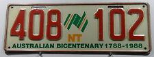 """Nummernschild Australien Northern Territories """"BICENTENARY 1788-1988. 11566."""