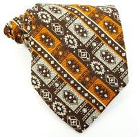 Armando Vintage 1970s Tie Short Wide Orange Brown Stripe Woven Necktie