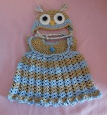 """American Girl Doll Clothes Crochet LtBlue Owl Dress & Hat Fit American Girl 18"""""""