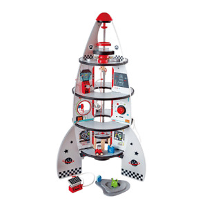 Hape Four-Stage 20 Piece Durable Wooden Rocket and Spaceship Toy for Children