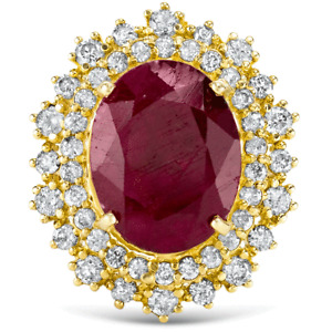 Certified 7.50cttw Ruby 1.95cttw Diamond 14KT Yellow Gold Ring