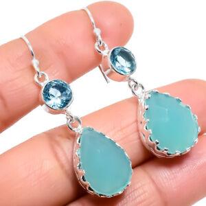 "Aqua Chalcedony, Blue Topaz Gemstone Silver Jewelry Earring 2.0"" ERJ475"