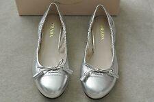 PRADA Metalic Silver RUNW Ballet Flat Napa Leather Womens Shoes size 41 10 M NEW