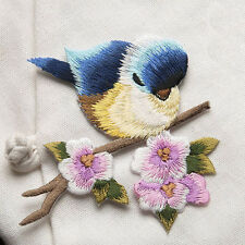 Cute Bird Flower Embroidered Iron On Patches Badge Bag Fabric Applique Craft