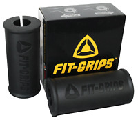 Fit Grips 2.0 - Thick Grips Fat Bar Training - Bicep and Tricep (Black)