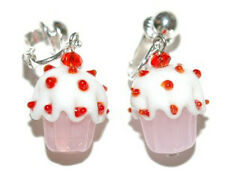 RED PINK & WHITE GLASS CUPCAKE CLIP ON EARRINGS (D190b)