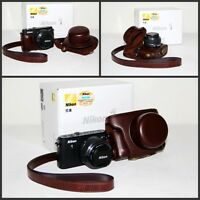Coffee brown leather camera case bag for Nikon 1 J3 or  J4  10mm /11-27.5mm lens