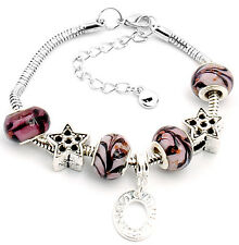 design handmade lampwork glass metal beaded European charm bracelet S-A96