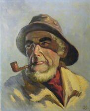 Signed Danish Oil on Canvas of Smoking Fisherman Attributed:  Oluf Juhl